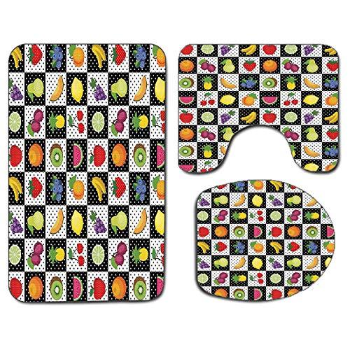 3pcs tapis de salle de bain antidérapant housse de couvercle de siège de toilette ensemble noir et blanc , fruits légumes nature avec des points carrés d