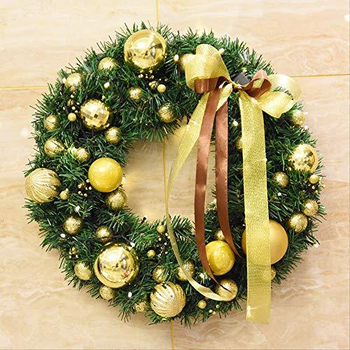 ZHENGXIN Corona de Navidad,Decoración Corona Navidad Cono Pino Artificial,40cm Bola nacarada Guirnalda navideña Tienda Ventana Puerta Colgante de Pared Adornos navideños