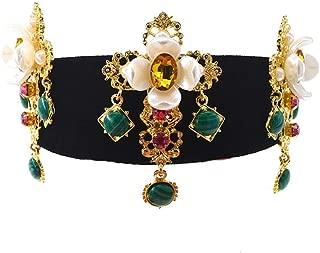 SGDBBR Vintage Court Wind Gem Emerald Crystal Crown Cruz exagerada Big Flower Headband Accesorios femeninos