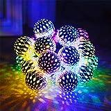 Xiaoai's shop Marruecos Bola de Hierro 20LED Solar Bolas de Metal Boda de Vacaciones de Las Luces de Navidad,Colorlight,5meterline