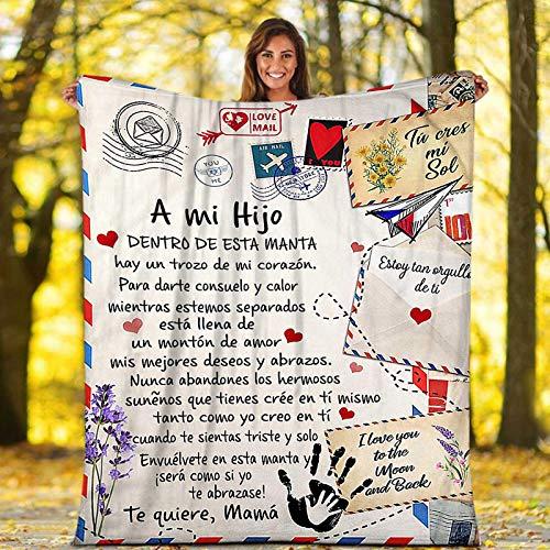 Manta de Franela para mi Hijo y Hija Manta de Lana con Español Estampado de Carta de Mensaje, Manta súper Suave para Hijo/Hija Regalos De Cumpleaños Navidad