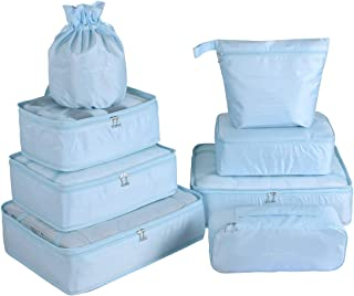 Travel Packing Cubes 8 Pcs Set, Luggage Packing Organizers with Shoe Bag and Toiletry Bag(Light Blue)