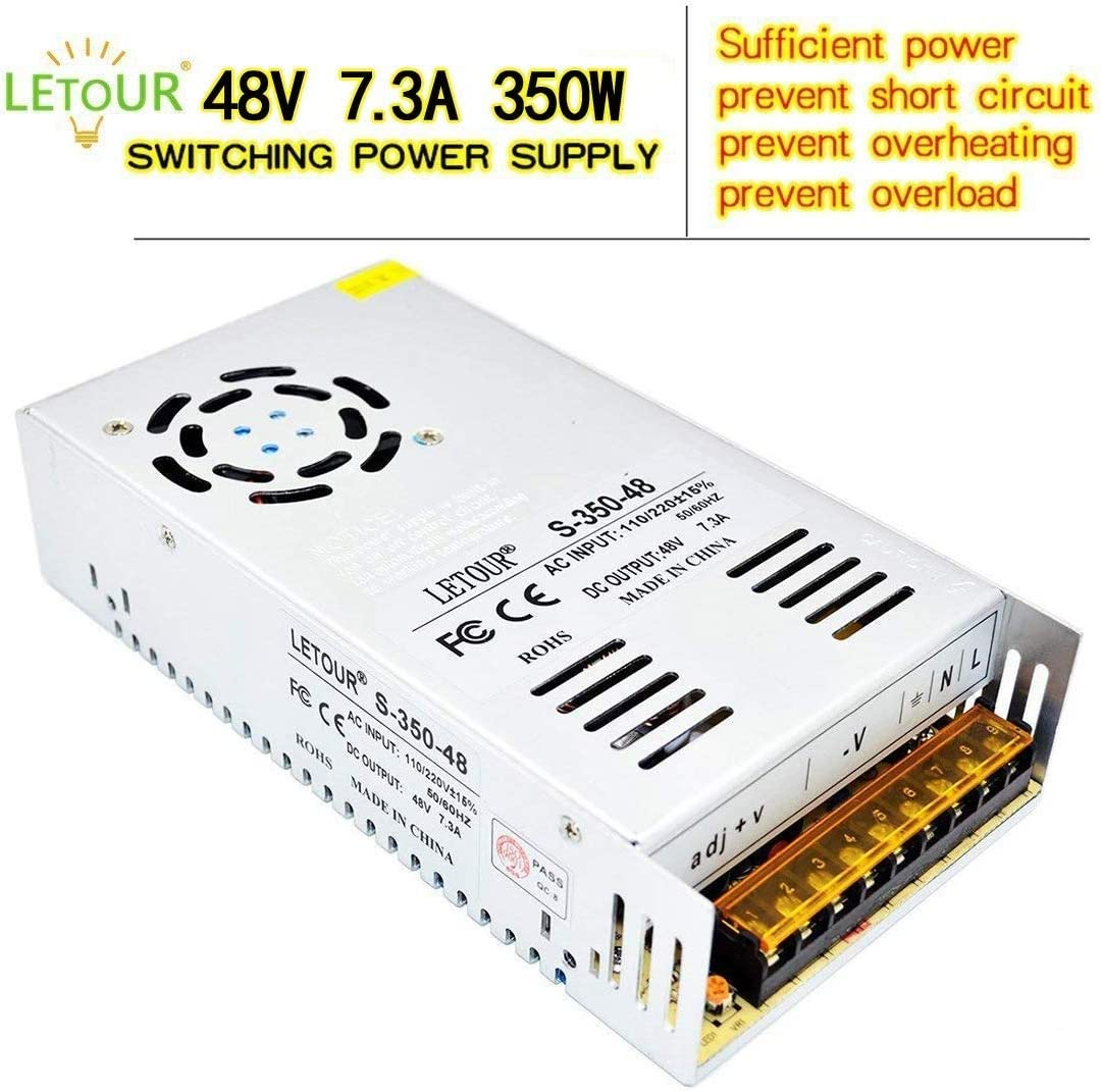 LETOUR Power Supply AC96V~130V Transform DC Power Supply with EMC Filter、Overcurrent and Overvoltage Protection DC Device Drive Power (48V 7.3A 350W)