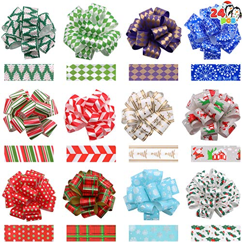 24 Christmas Gift Wrap Ribbon Pull Bows 5' ; Easy and Fast Gift Wrapping Accessory for Christmas Bows Baskets Wine Bottles Gifts Decoration, Gift Wrapping, Present Decor.