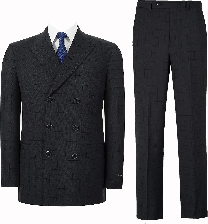 Pio Lorenzo Men's Double Breasted Suit 2-Piece Classic Fit Peak Lapel Solid Jacket Dress Pants Black