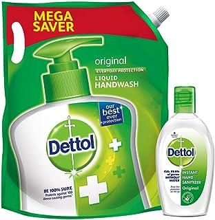 Dettol Liquid Hand wash Refill, Original + Instant Hand Sanitizer, Original - 1500 ml + 50 ml