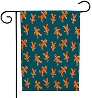 GROOTEY Fall Garden Flag,Home Yard Decorative 12.5X18 Inches Watercolor Pattern Gingerbread Men Blue Background Double Sided Seasonal Christmas Garden Flags Kids Christmas Garden Flag