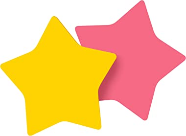 Post-it Notes, Star Shape, Yellow and Pink with pattern, 2.9 in x 2.8 in, 2 Pads, 75 Sheets/Pad (7350-STR)