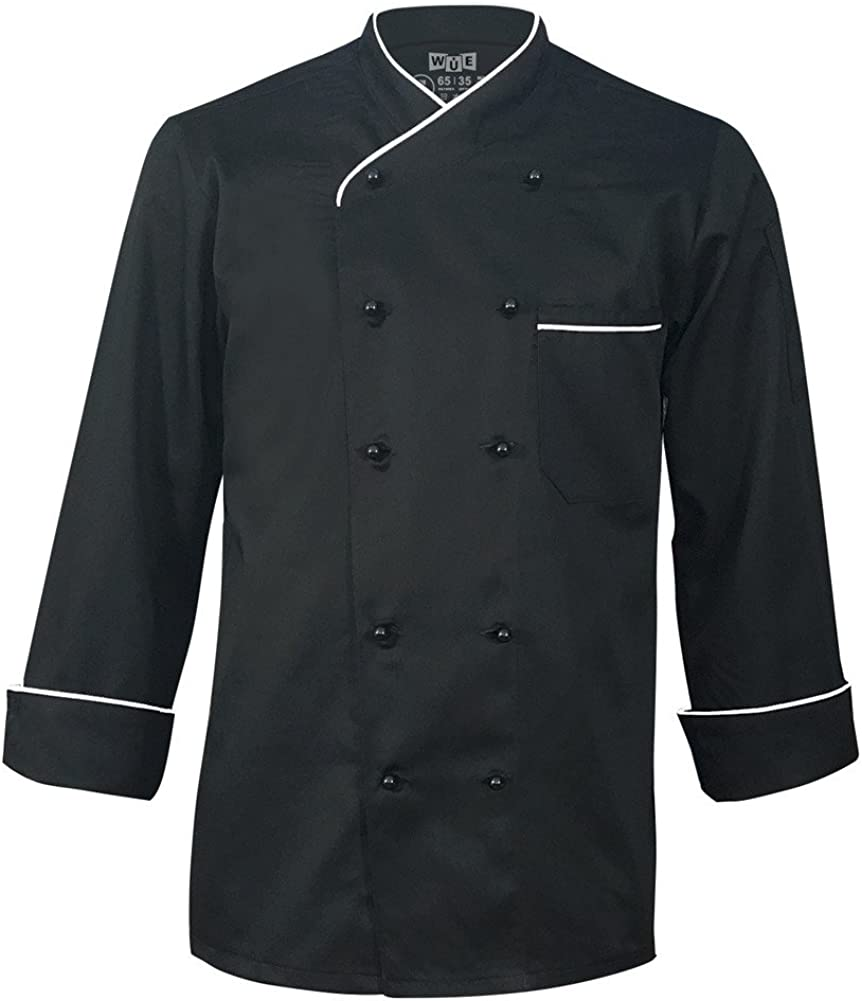 10oz apparel Long Sleeve Black White ご予約品 Piping with Chef Coat 大特価!!