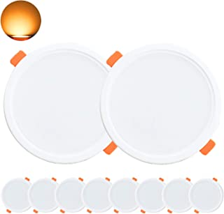 Kimjo Foco LED Empotrable 10W(equivalente 100W), Blanco Cálido 3000K 850lm Redondo Foco Empotrable LED Techo, 36mm Ultraslim Lámpara de Techo, AC 185V-260V, para Baño Sala de Estar Cocina 10 Pack