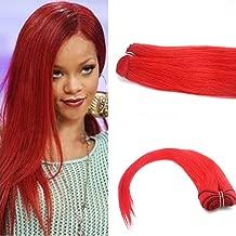 Romantic Angels Remy Brizzilan Human Hair Weave Straight Hair Bundles Red (24'')
