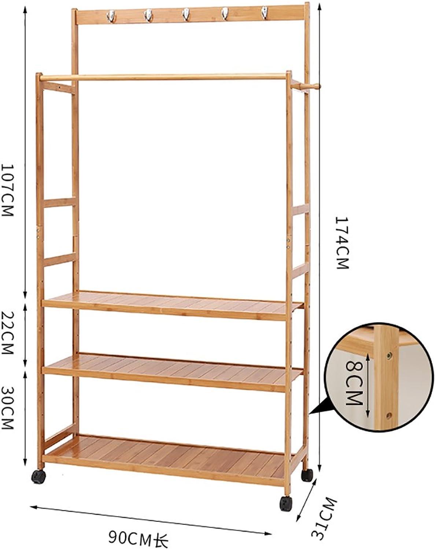 Coat Stand,Housewares Standing Coat Hat Rack Bamboo Wooden Creative Storage Shelves Hanger,90  45  163cm