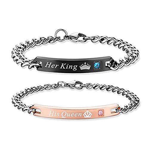 SXNK7 Gift for Lover His Queen Her King Stainless Steel Couple Bracelets for Women Men Jewelry