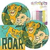 Paquete de fiesta temático The Lion King, incluye platos de papel y servilletas de almuer...