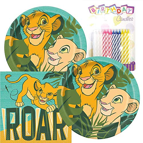 Paquete de fiesta temático The Lion King, incluye platos de papel y servilletas de almuerzo, además de 24 velas de cumpleaños, sirve 16