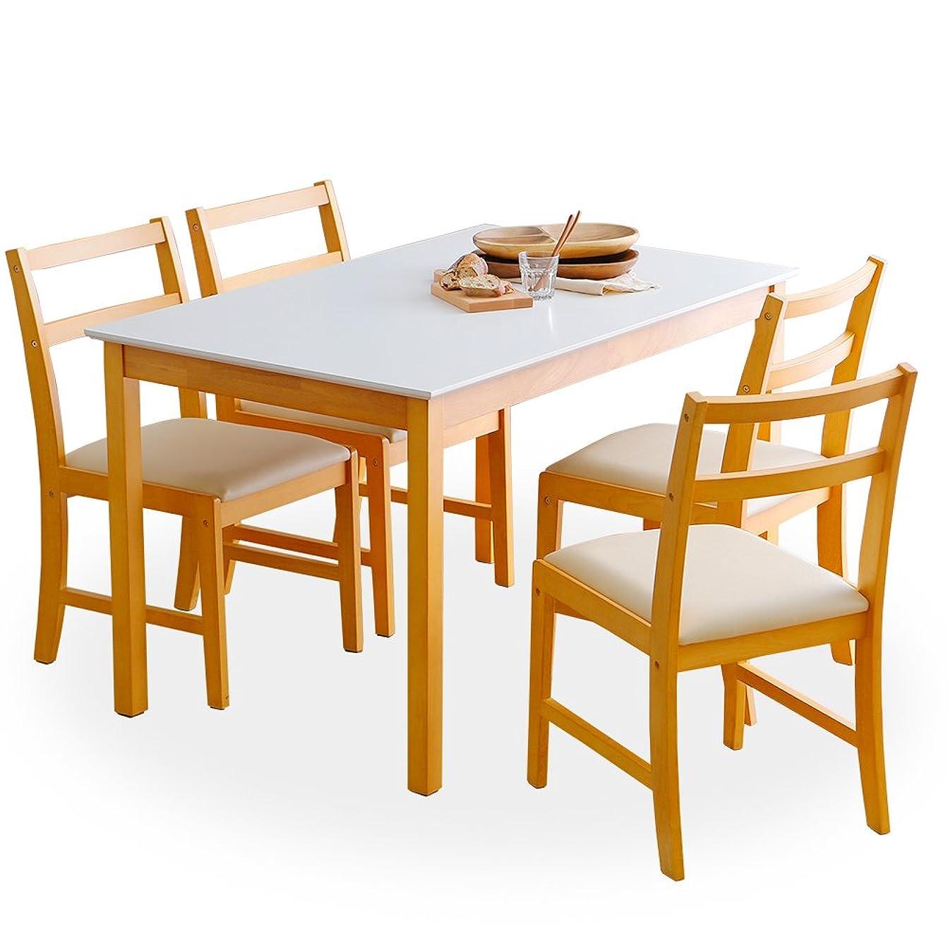 スピーカー精査するオンLOWYA (ロウヤ) ダイニング ダイニングテーブル 5点セット 4人掛け 幅120 テーブル ナチュラル ホワイト おしゃれ 新生活