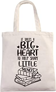 Chillake Teacher Appreciation Natural Cotton Canvas 12 Oz Reusable Hand Made Tote Bag | It Takes a Big Heart to Shape Litt...