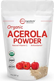 Pure Acerola Cherry Powder Organic, Natural and Organic Vitamin C Powder (Immune Vitamin) for Immune System Booster, 8 Oun...