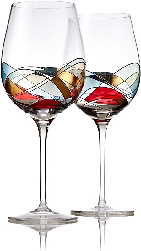 Bezrat Red Wine Glasses Set Of 2 Unique Hand Painted Wine Glasses Drinkware Essentials 11 H 28oz Wine Lover Large Wine Glass Glassware Gifts Ideas For Women Inspired By The Duomo Di Milano