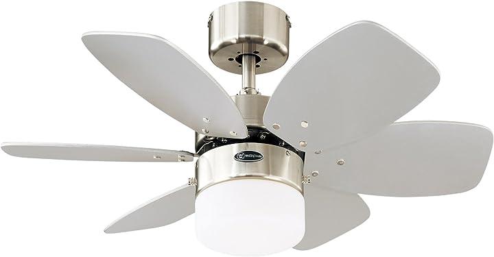 Ventilatore a soffitto per interni a sei pale finitura cromo satinato con vetro opalino 7878840 Westinghouse