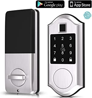 Narpult Fingerprint Smart Lock, Keyless Entry Door Lock, Electronic Deadbolt Door Lock, Bluetooth Keypad Digital Lock - App Control, Biometric, Fobs, Passcodes and Keys. - Silver