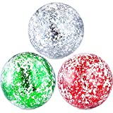 Hsei 3 Pieces Inflatable Beach Ball Glitter Beach Ball Floatable Confetti Ball for Summer Beach, Pool and Party Favor (Red, Green, Silver, 24 Inch)