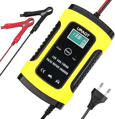 URAQT Chargeur de Batterie Intelligent 6A 12V, LCD Écran Chargeur Batterie Mainteneur, avec Protections Multiples Typ...