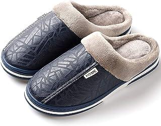 XXYANZI Homme Femme Chaussons Chaude Fourure Doublée Peluche Pantoufle Antidérapantes Confortable Slippers Navy 49-50