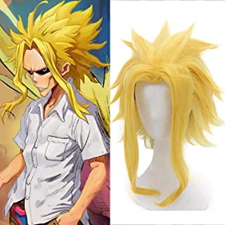 Mersi All Might Wig for My Hero Academia Costume Cosplay Short Layered Yellow Wigs for Halloween Party S064