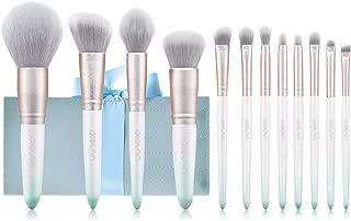 Makeup Brushes DIOLAN 12 PCs Makeup Brush Set Premium Synthetic Foundation Brush Blending Face Powder Blush Concealers Eye Shadows Make Up Brushes Kit (White& Green)