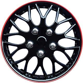 comprar comparacion AUTOSTYLE KT970-14 IB+R Juego de 4 Tapacubos Missouri 14 Pulgadas Negro/Borde Rojo