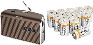 Grundig Music 60, empfangsstarkes Radio im modernen Design, Brown/Silver & Amazon Basics Batterien Alkali, Typ D, 12Stück