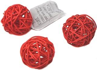 Ougual 10 Piezas Bolas de ratán Mimbre Mesa Boda Fiesta Navidad decoración 5cm Rojo