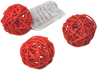 Ougual Set of 6 Wicker Rattan Balls Table Wedding Party Christmas Decoration (Diameter 8cm, Red)