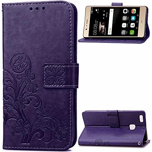 Hülle für Huawei P9 Lite 2016 Hülle Handyhülle [Standfunktion] [Kartenfach] Schutzhülle lederhülle klapphülle für Huawei P9Lite - DESD050845 Violett