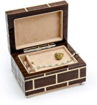 Wood Jewelry Box for Women – Best Gifts for Mother's Day- Handcrafted, Made in Italy, Musical Jewelry Box, Masonry Style Inlay Brown Rosewood and Walnut with 400+ Song Selection