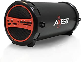"""AXESS SPBT1031 Portable Bluetooth Indoor/Outdoor 2.1 Hi-Fi Cylinder Loud Speaker with Built-In 3"""" Sub and SD Card, USB, AUX Inputs in Red"""