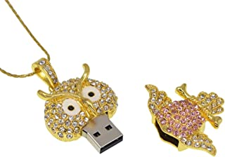 Datarm Thumb Drive 64GB Flash Drive USB 2.0 Novelty Pendrive Crystal Owl Necklace