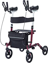 ELENKER Upright Walker,Stand Up Folding Rollator Walker Back Erect Rolling Mobility Walking Aid with Backrest Seat and Padded Armrests for Seniors and Adults,Red