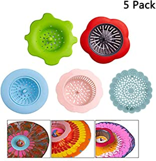 Finduat 5 Pack Acrylic Pouring Strainers Plastic Silicone Strainer Flower Drain Basket Acrylic Paint Pouring Supplies