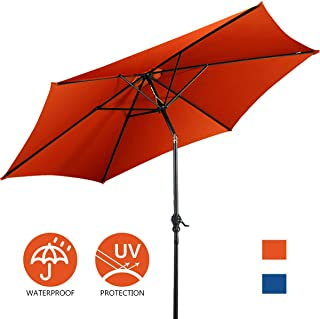Giantex 10ft Outdoor Patio Umbrella, Market Table Umbrella w/Tilt Adjustment and Crank, 180G Polyester, Garden Canopy for Deck Backyard Pool Indoor Outdoor (Orange)