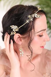 FXmimior - Set di orecchini a lobo in oro con strass e fascia floreale in cristallo, per matrimonio