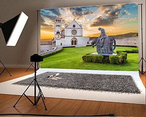 Laeacco 7x5FT Vinyl Backdrop Photography Background Famous Basilica St. Francis Assisi Basilica Papale di San Francesco Stone Horse Solider Statue Sunset Assisi Umbria Italy Background Studio Shoot