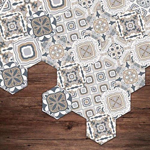 MI-RAN HJ Fliesenaufkleber - Hexagon Fliesensticker Fliesenfolie Designfolie | Fliesen Aufkleber Sticker Folie für Küche - Klebefliesen |Mediterraner Stil DB051, sets of 10 pieces
