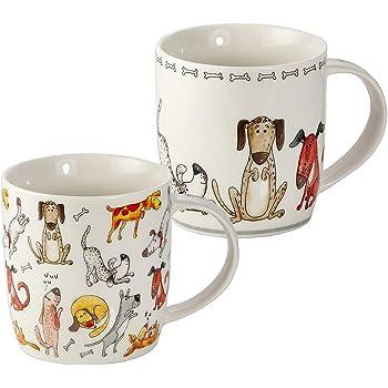 Juego de 2 Tazas Desayuno Originales de Porcelana Fina, Tazas de Café con Diseño de Perros Divertidos, Regalo para Mujer y Hombres Amantes de los Perro: Amazon.es: Hogar