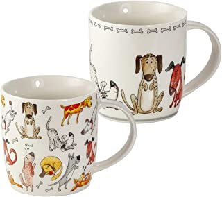Juego de 2 Tazas Desayuno Originales de Porcelana Fina, Tazas de Café con Diseño de Perros Divertidos, Regalo para Mujer y...