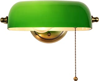 Newrays Green Glass Bankers Lamp Shade Adjustable Wall Light with Pull Chain Switch Hard Wired for Bedroom Sconce Fixture...