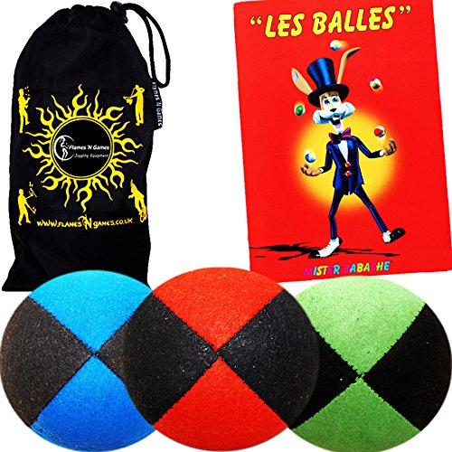 Flames 'N Games Juggling Ball Set 3X Balles de Jonglage en Super Doux Velours (Suède) - Mr Babache Livre sur Les Techniques de jonglage (en français) + Sac de Transport- Bleu / Orange / Vert