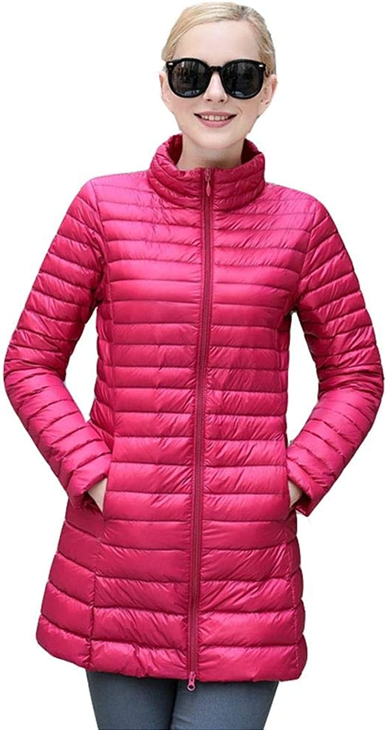 Dotoo 90% White Duck Down Autumn And Winter Women Long Section Thin Collar Down Jacket