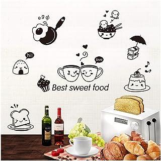 HUAHENG ملصقات حائط المطبخ القهوة الحلو الغذاء DIY جدار الفن صائق الديكور فرن قاعة الطعام خلفيات PVC ملصقات/لاصق